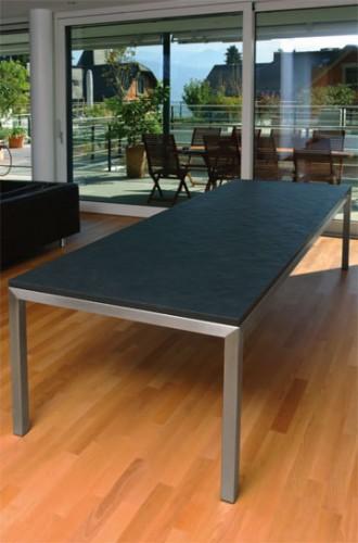 Edelstahl-Tisch mit Schiefer-Platte